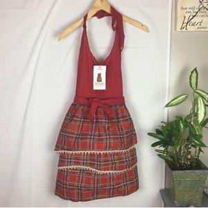 Harman Cotton Red Plaid Christmas Apron NWT